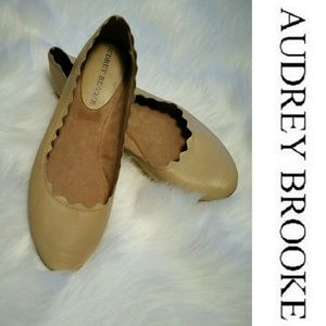 Audrey Brooke Leather Nude Flats w/ Scallop Detail